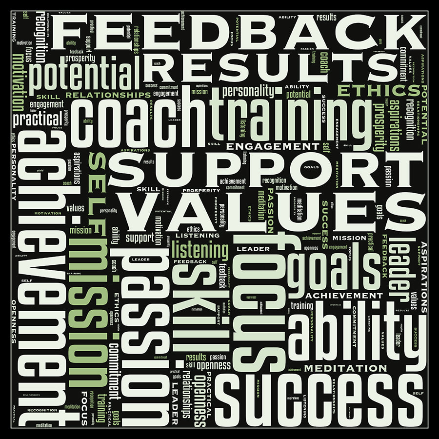 Word cloud poster feedback, support, achievement, values, potential, ethics etc.